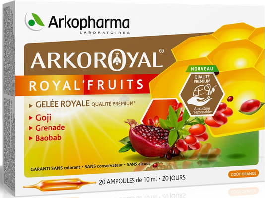 Arkoroyal Royal'Fruits Gelée Royale Arkopharma - 20 Ampoules