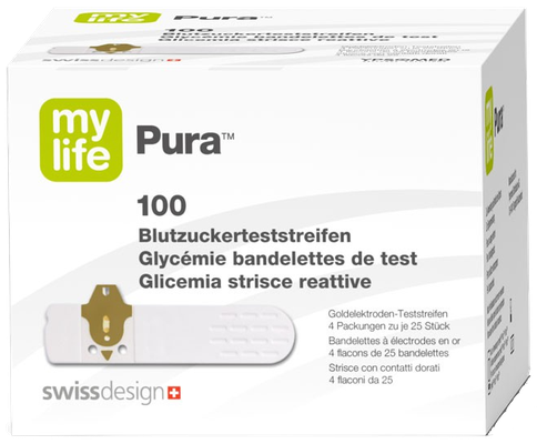 Pura Mylife 100 bandelettes de test Glycémie Ypsomed