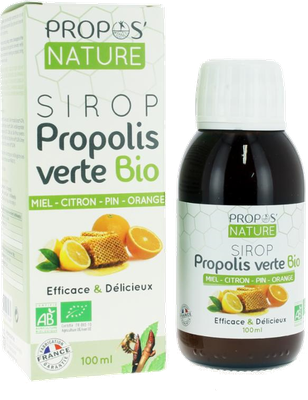 Sirop propolis verte bio miel citron pin orange Propos' Nature