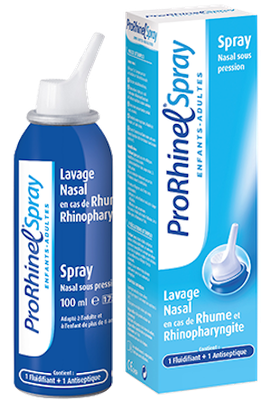 Lavage nasal Enfants & Adultes Rhume 1 fluidifiant + 1 antiseptique ProRhinel Spray - 100 ml